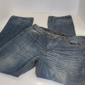 Black low rise slim straigt distressed jeans 36/34